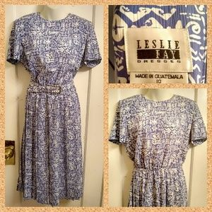 VTG 90s Lesilie Fay Batik Print Dress Plus Size 14